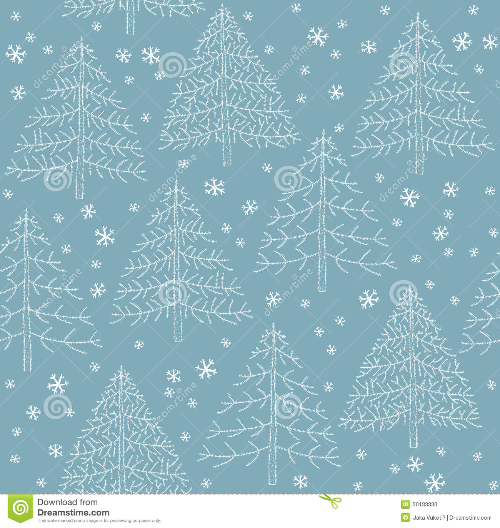 Blue Christmas Tree Wallpaper: Seamless Winter Forest Pattern Stock Photo