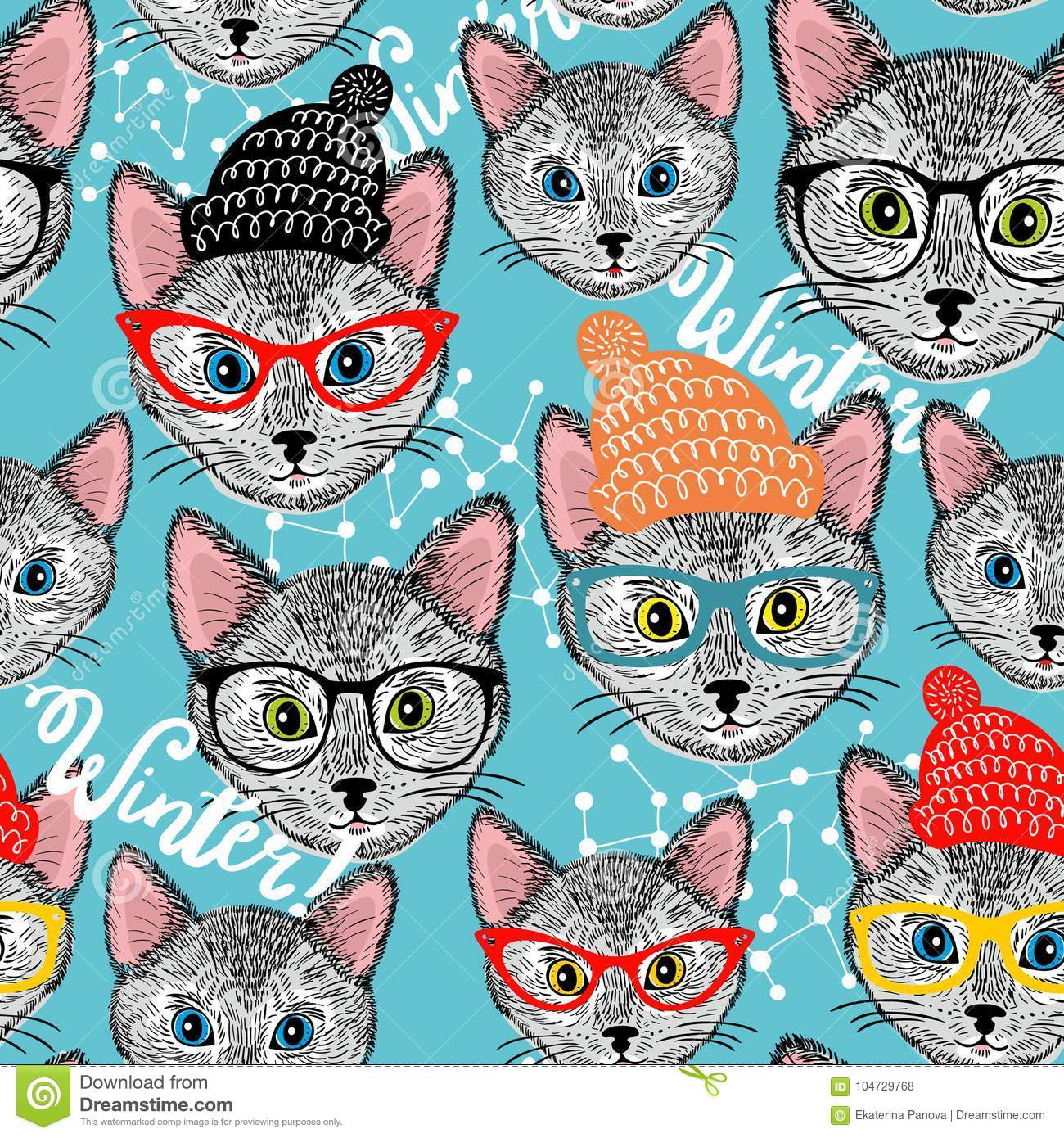 Seamless Winter Pattern With Cat In Hat Stock Vector