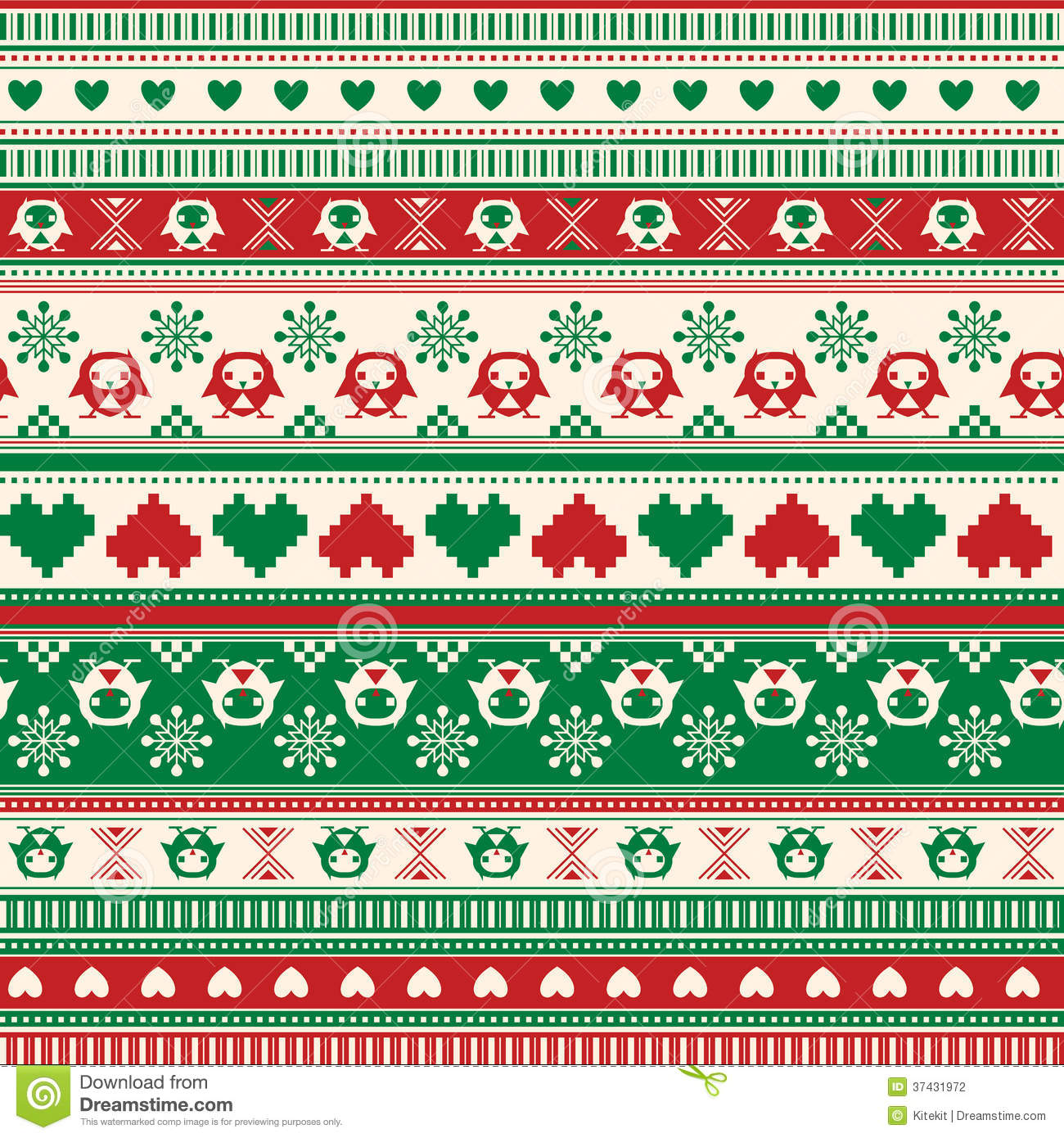 Seamless Winter Sweater Pattern With Hearts And Owls. Red-Green ...