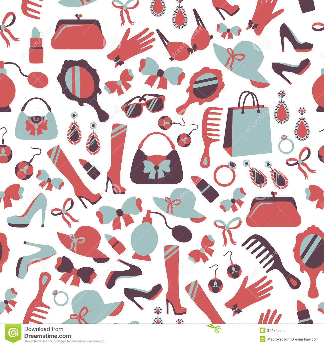 Download Seamless Woman Accessories Background Stock Vector - Illustration of illustration, feminine: 37434554