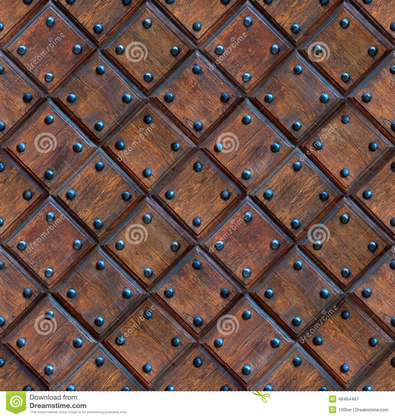 Seamless wooden panel door texture with nails stock image