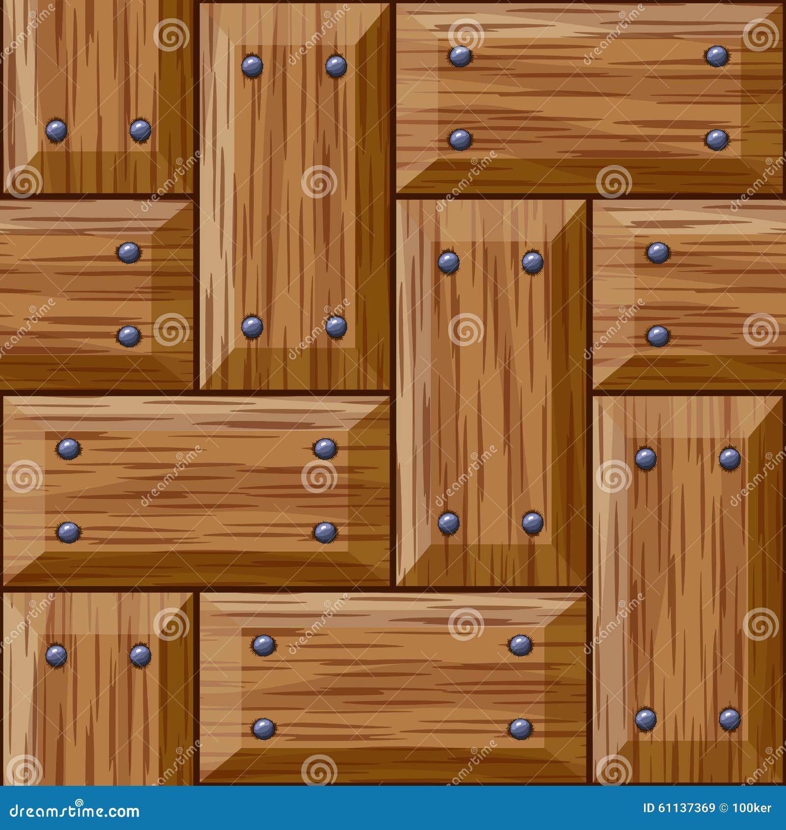 Seamless wooden panel door texture with nails stock vector