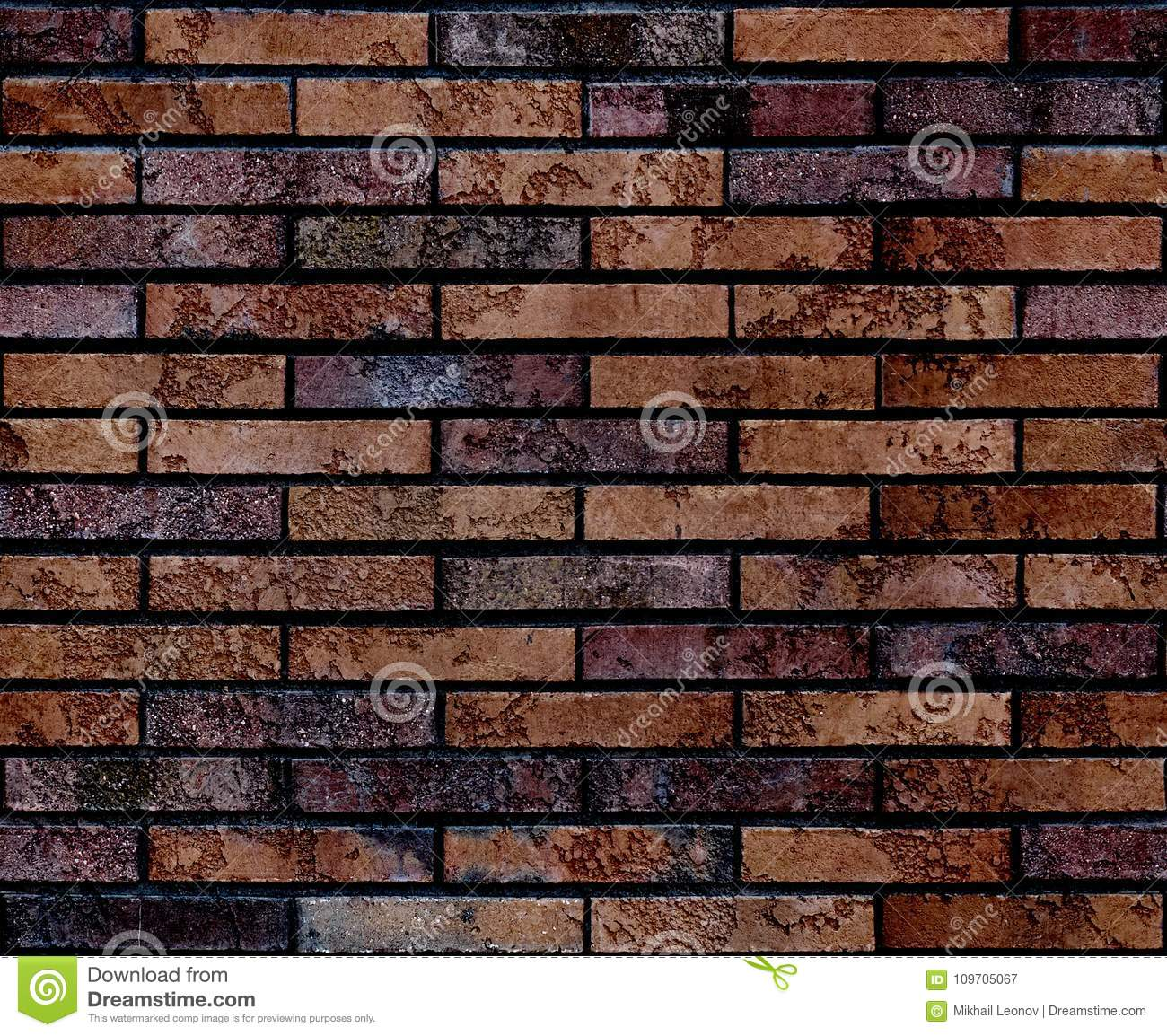 Seamless worn grunge brown brick wall pattern background texture. Seamless brick wall background. Architectural seamless brick pat