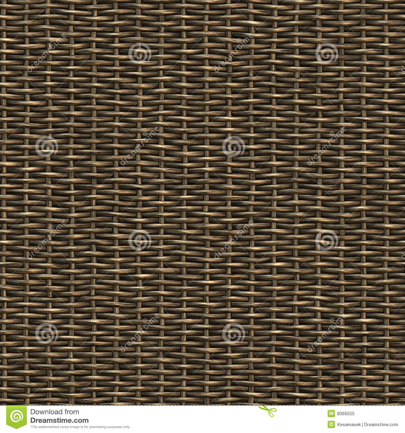 Seamless woven wicker material