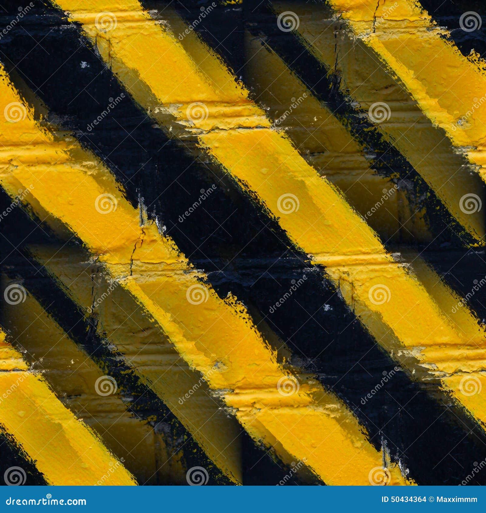 Seamless yellow black stripes stone wall wallpaper Stock Images
