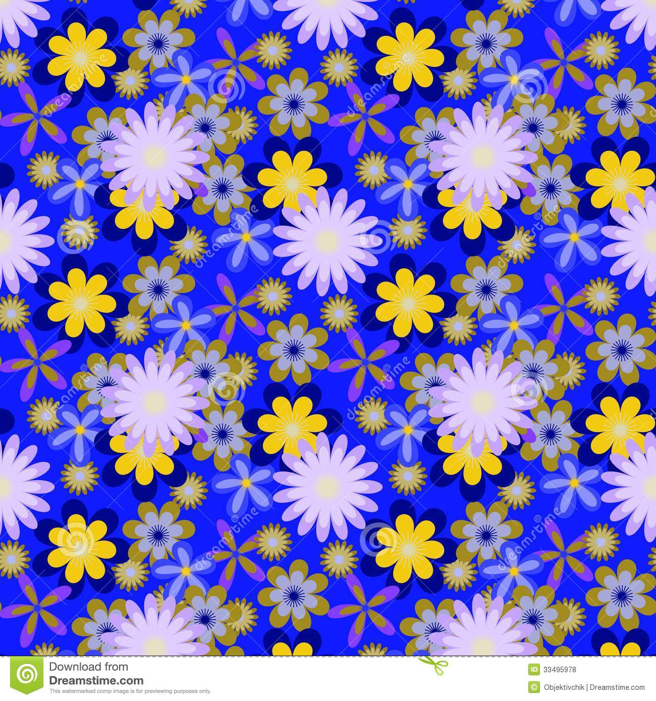 Seamless Yellow Flowers On Bright Blue Background Stock Vector