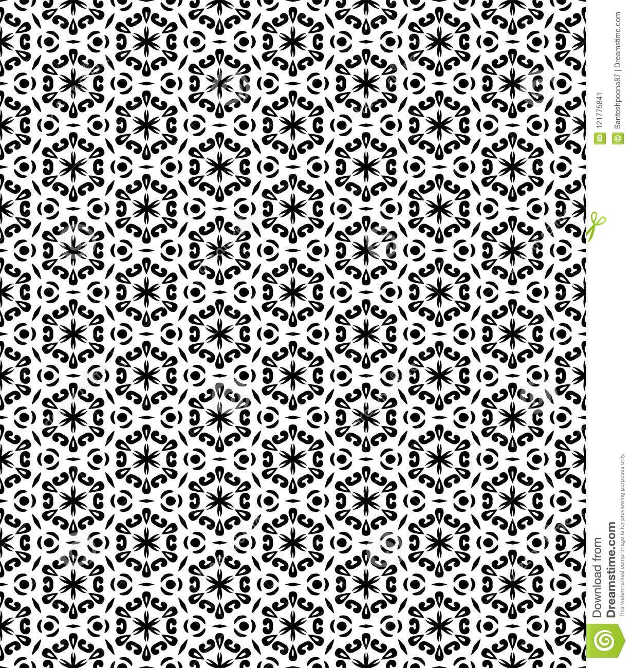 Seamsless Pattern Black And White Stock Vector - Illustration of ...