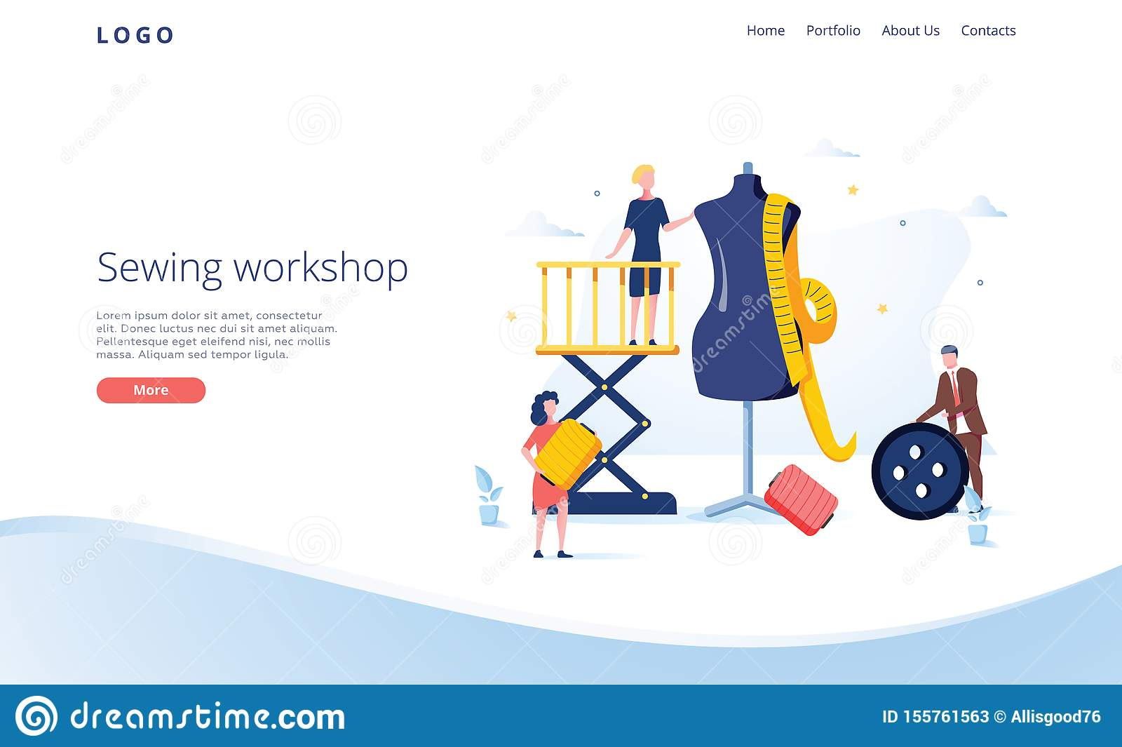 Seamstress vector website template, web page and landing page design for website and mobile site development. Sewing