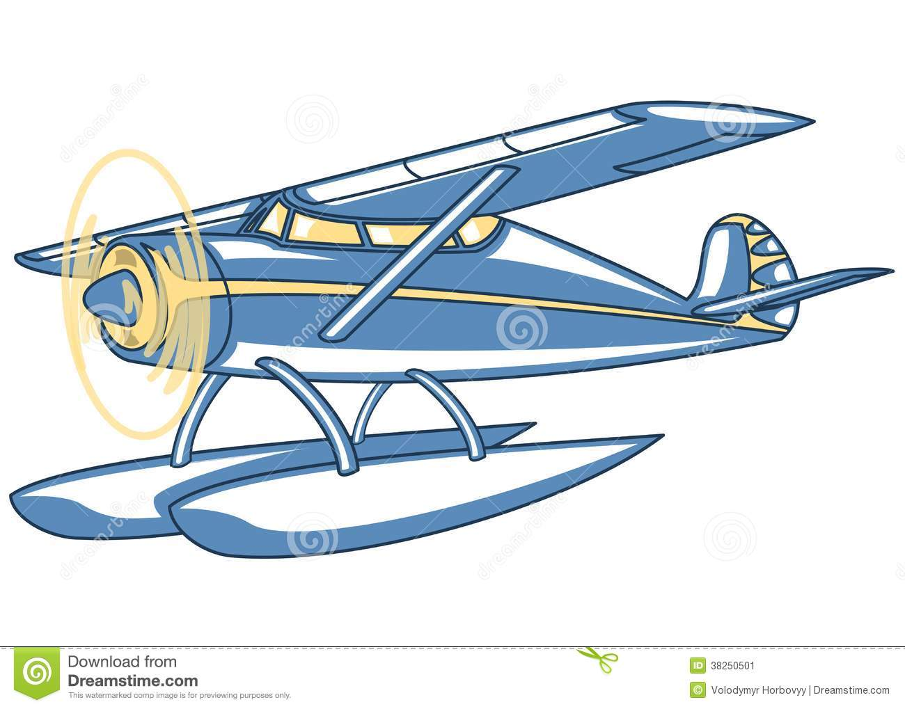 Vector retro seaplane. Illustration clip art.