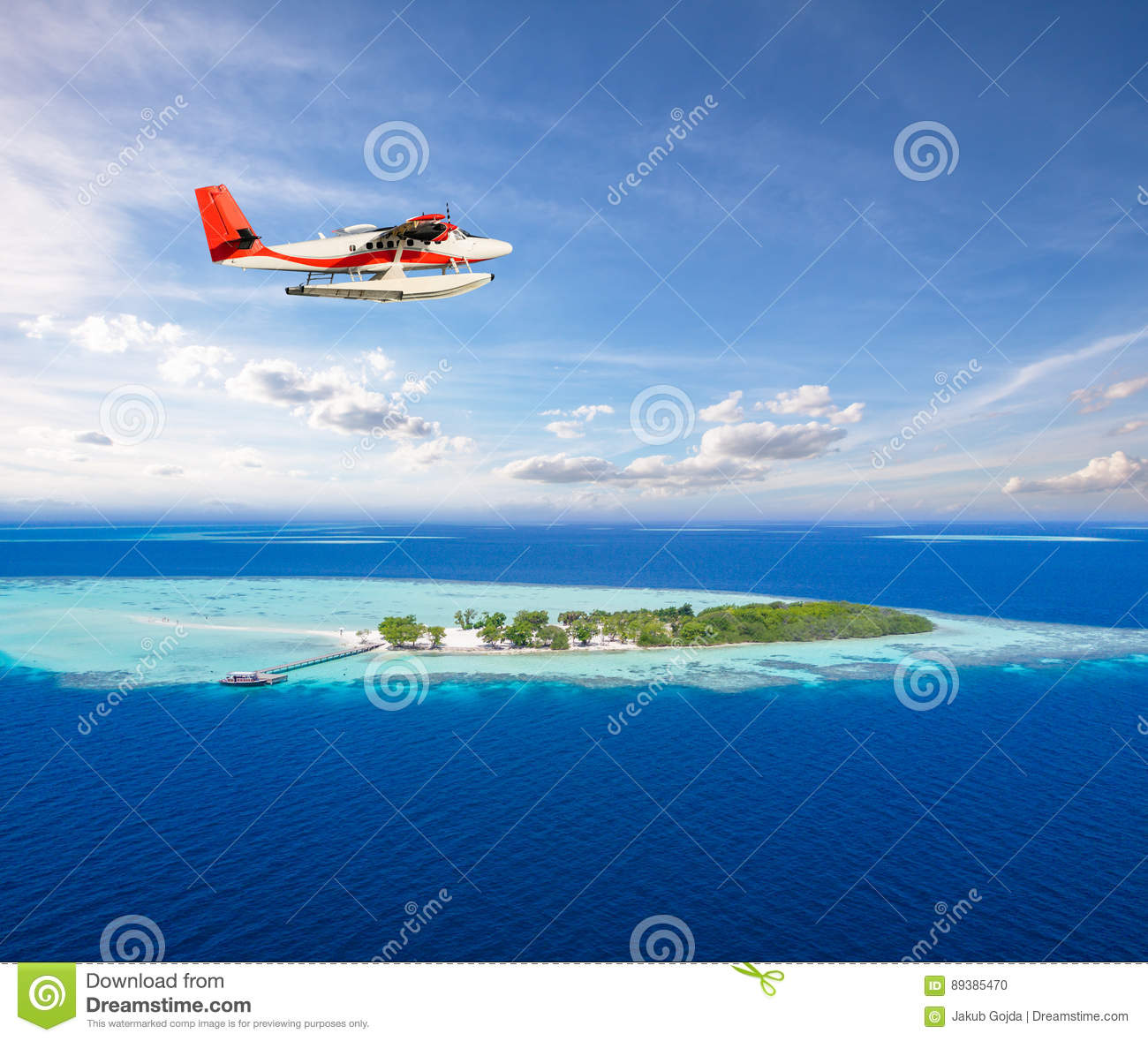 Seaplane Flying Above Small Tropical Island On Maldives