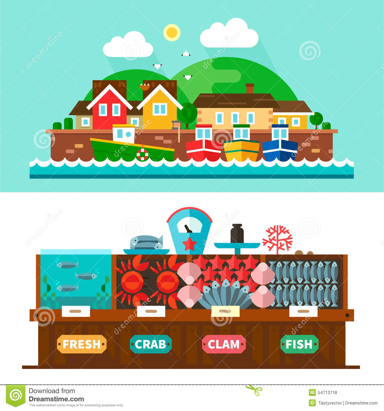 Seaport landscapes and seafood market stock vector image for Fish market seaport village