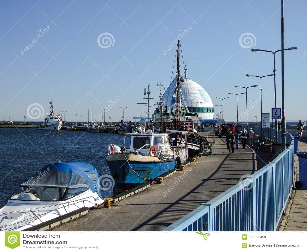 seaport and marina in hel in poland editorial stock photo image of