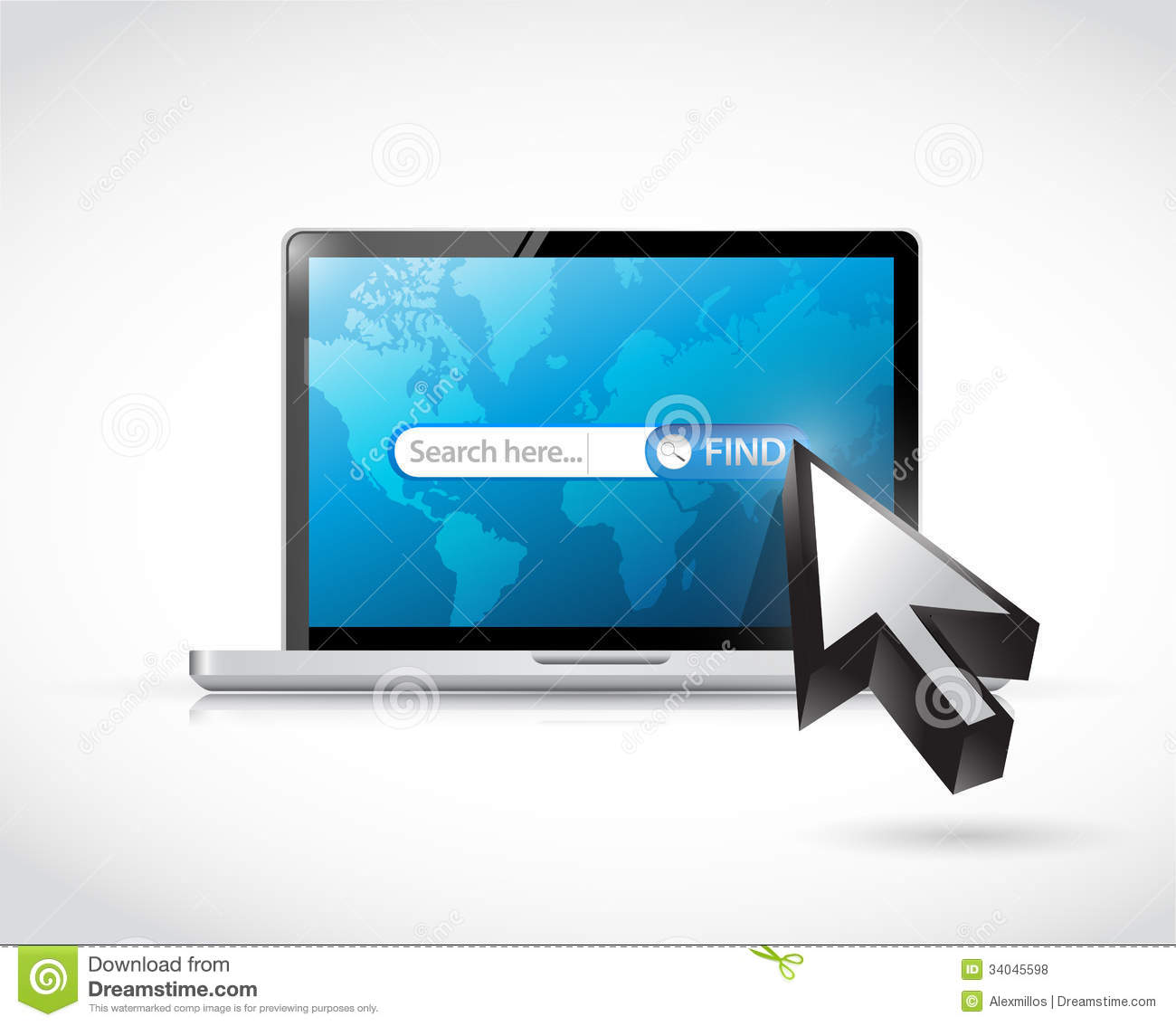 Search Bar On A Laptop Computer. Illustration Royalty Free Stock ...