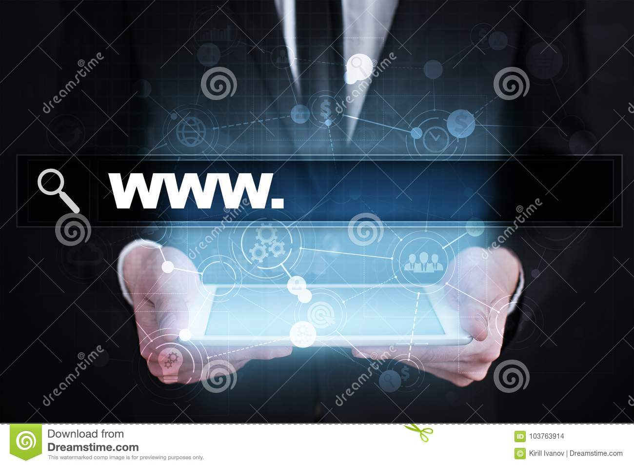 Search bar with www text. Web site, URL. Digital marketing.