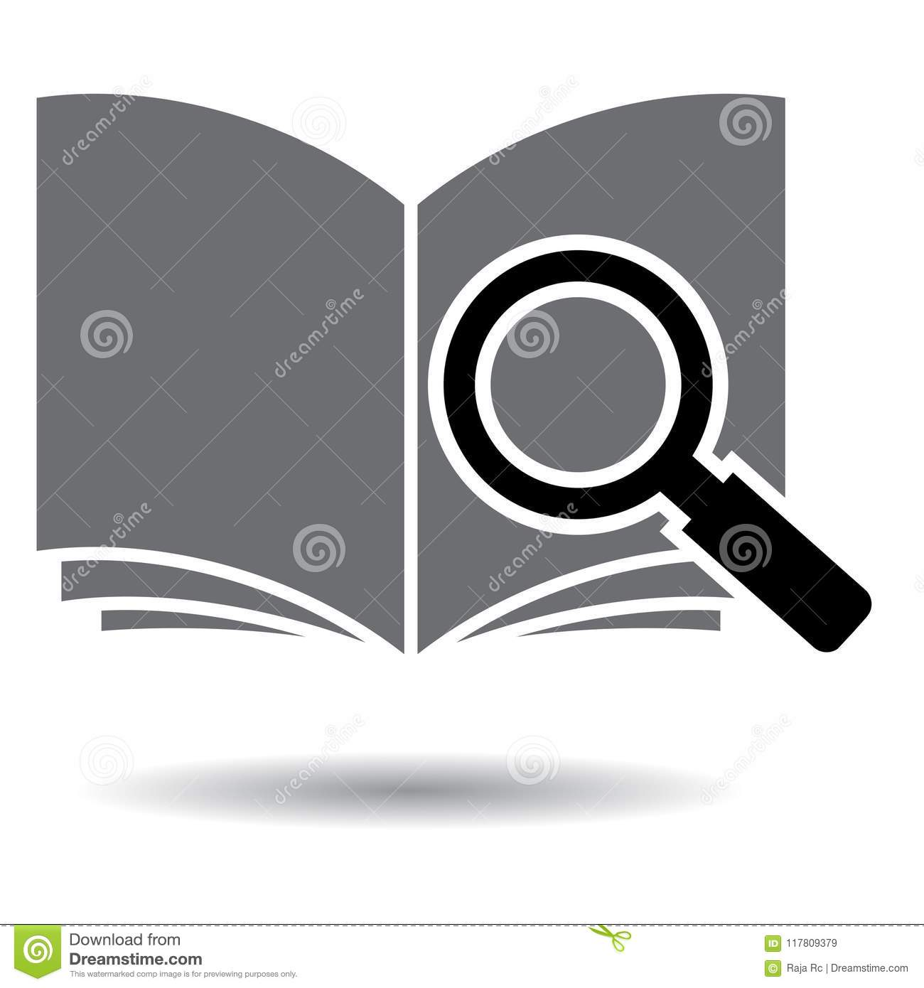 search book pdf black and white icon stock vector illustration of