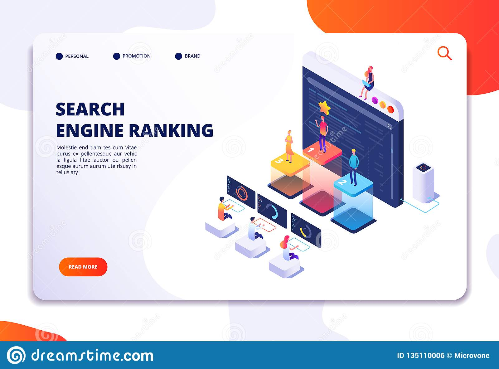 Search engine rank isometric landing page. Seo marketing and analytics, online ranking result. 4ir 3d vector concept