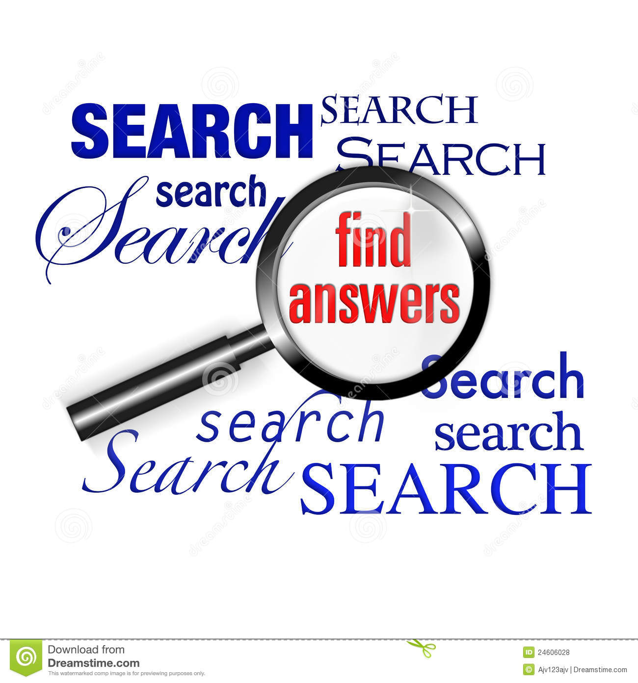 Search find answers magnify glass royalty free stock photos image