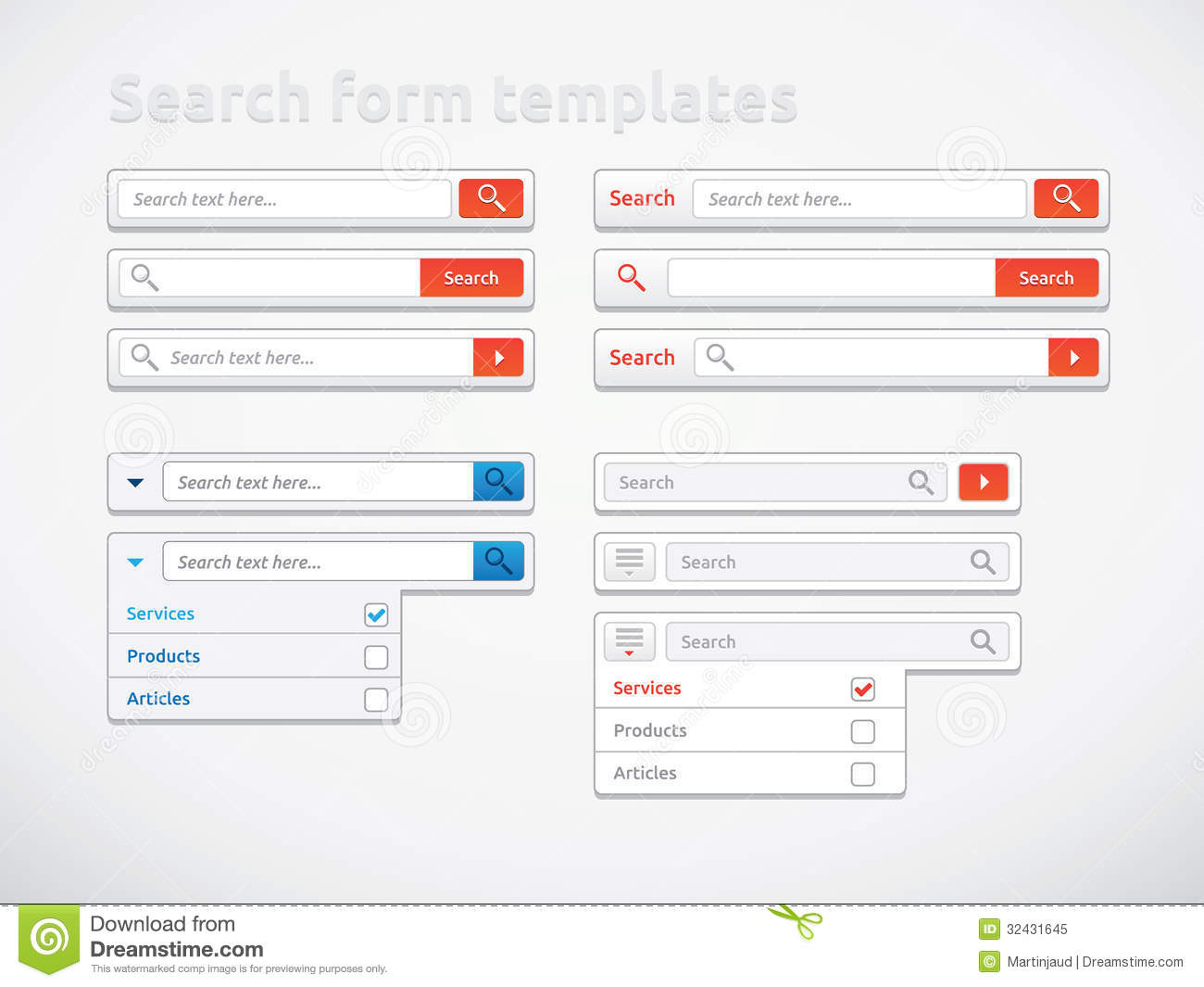 Search Form Templates And Designs Stock Vector ...