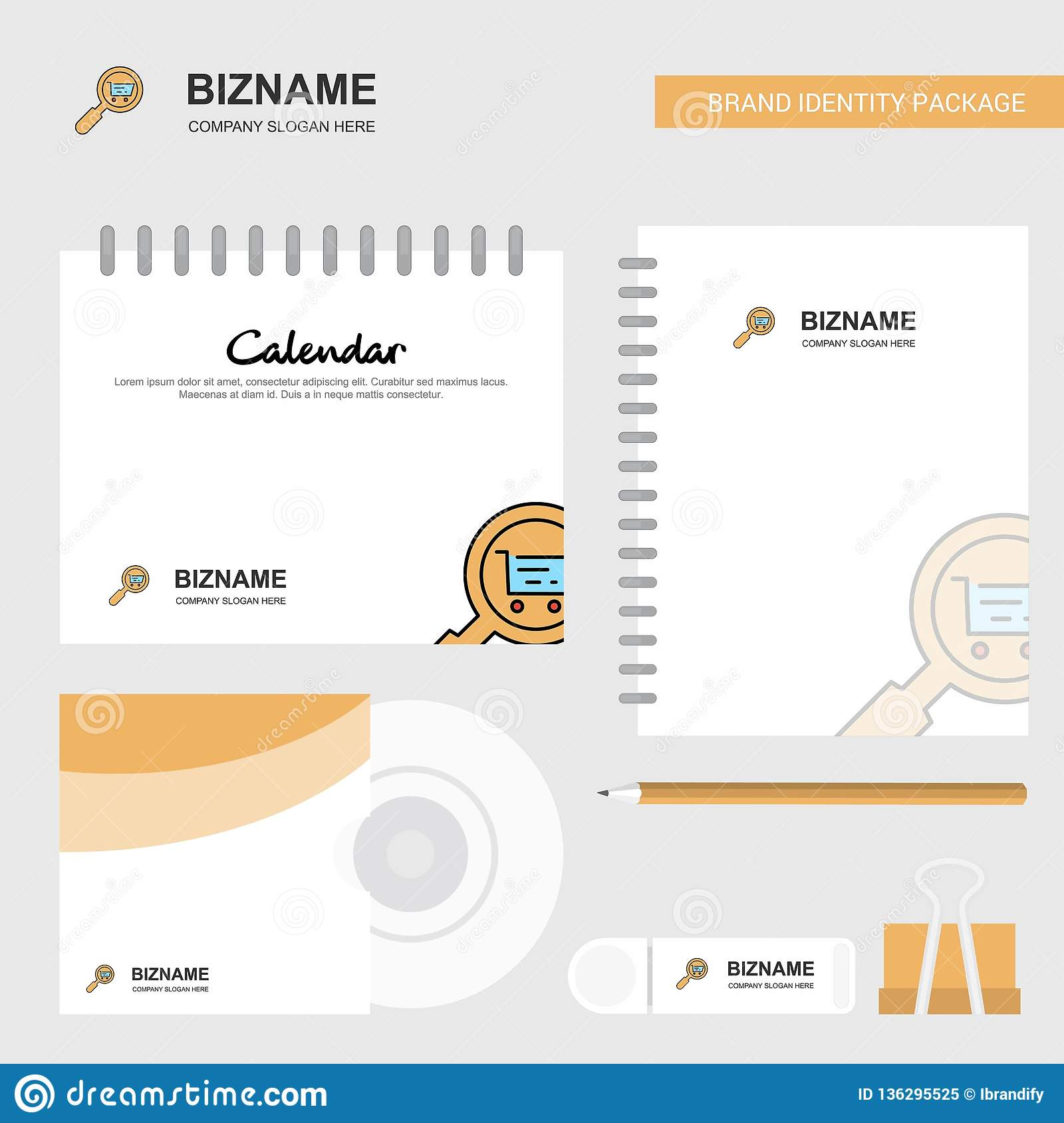 Search goods online Logo, Calendar Template, CD Cover, Diary and USB Brand Stationary Package Design Vector Template