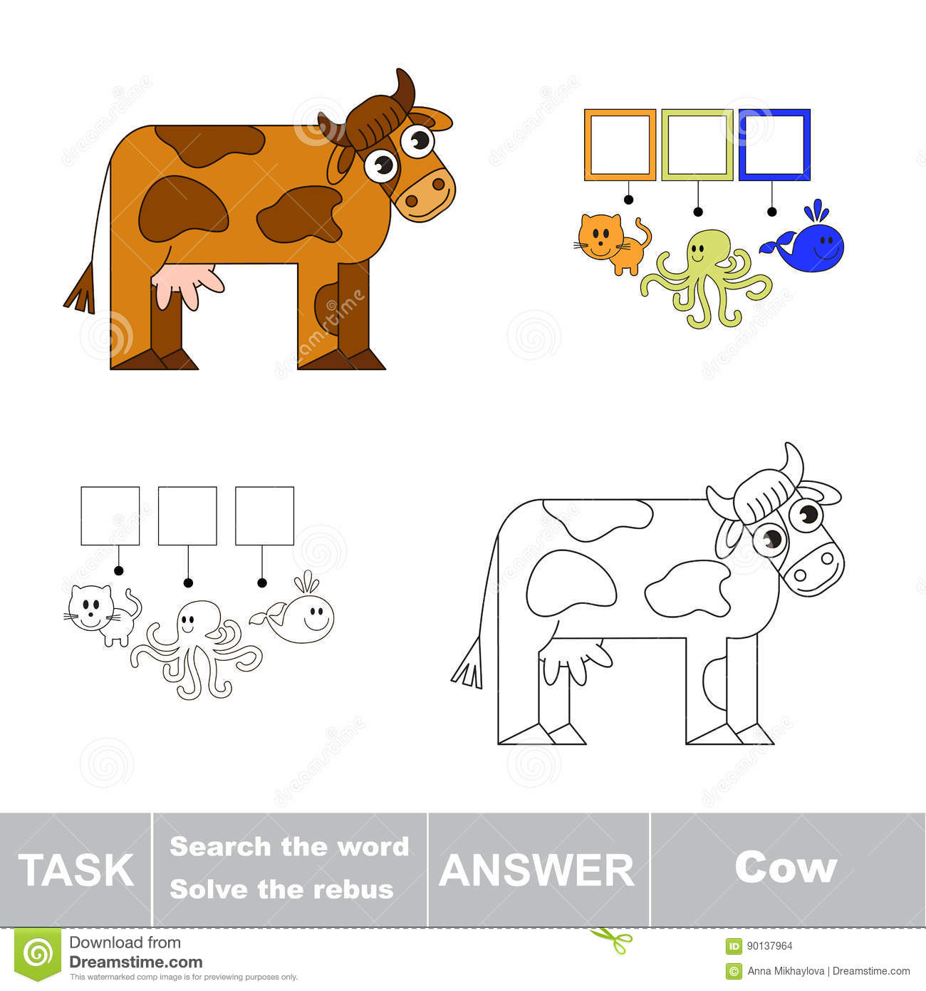 Search The Hidden Word The Simple Educational Kid Game Stock