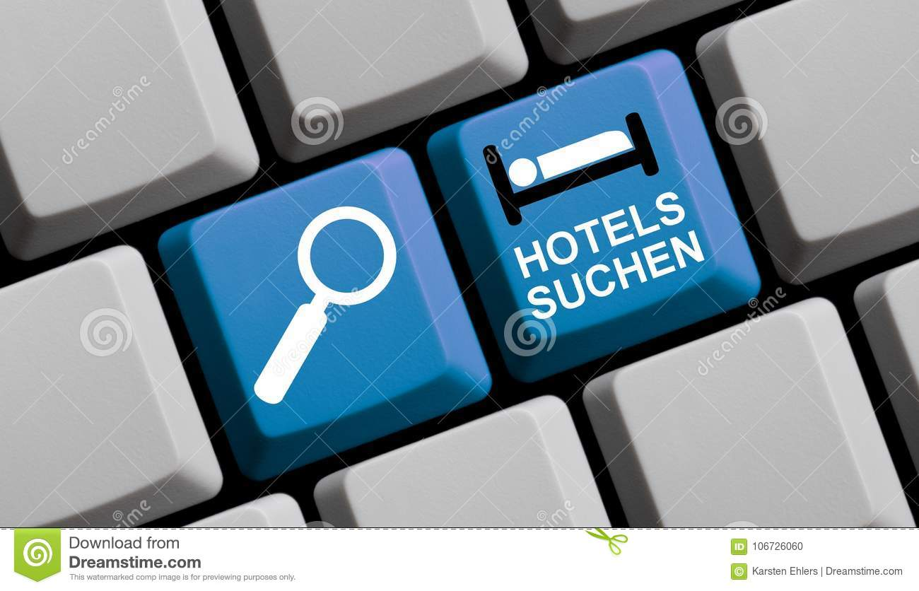Search Hotels Online German Computer Keyboard Stock Illustration