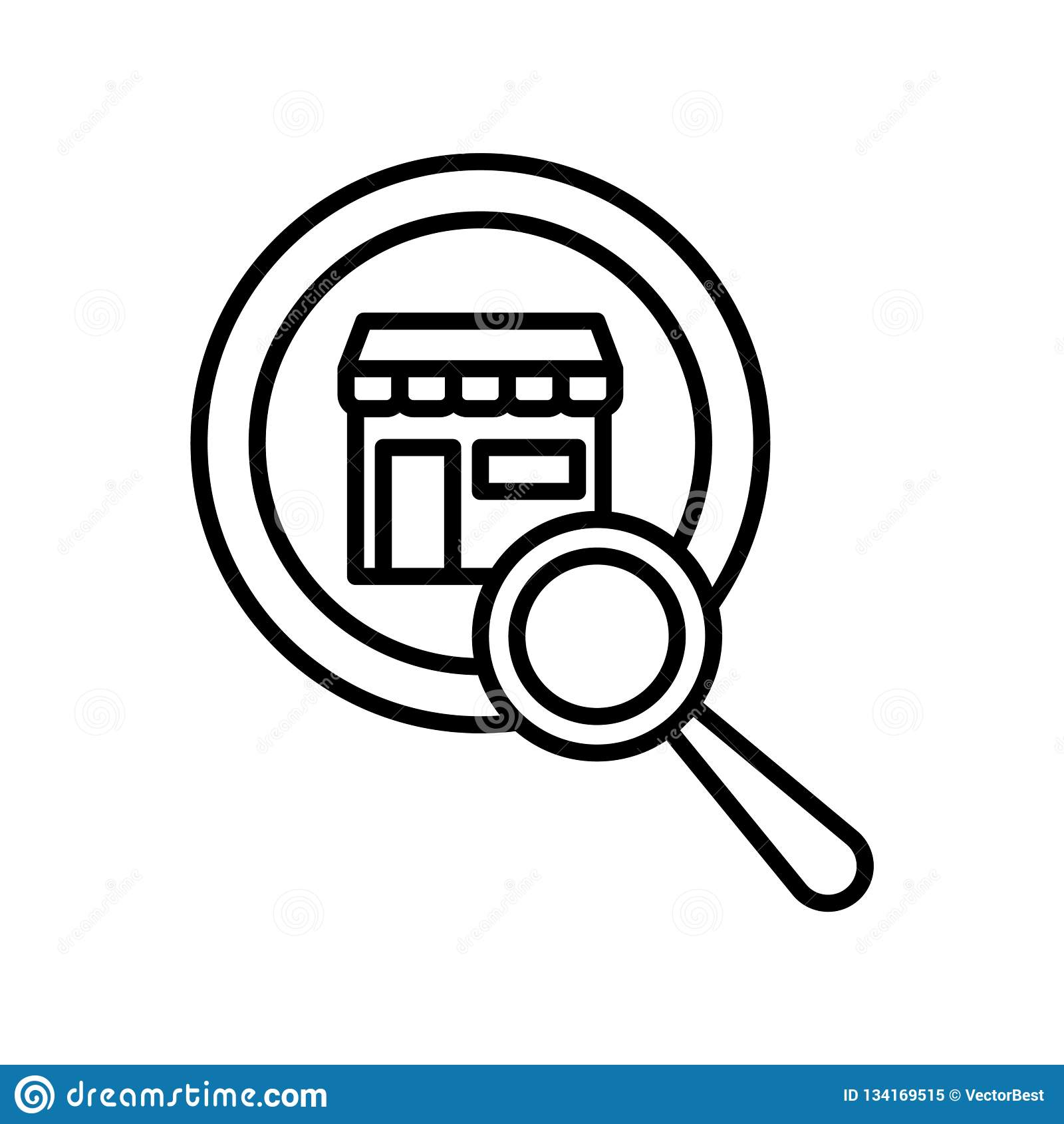 Search icon vector isolated on white background, Search sign , thin line design elements in outline style