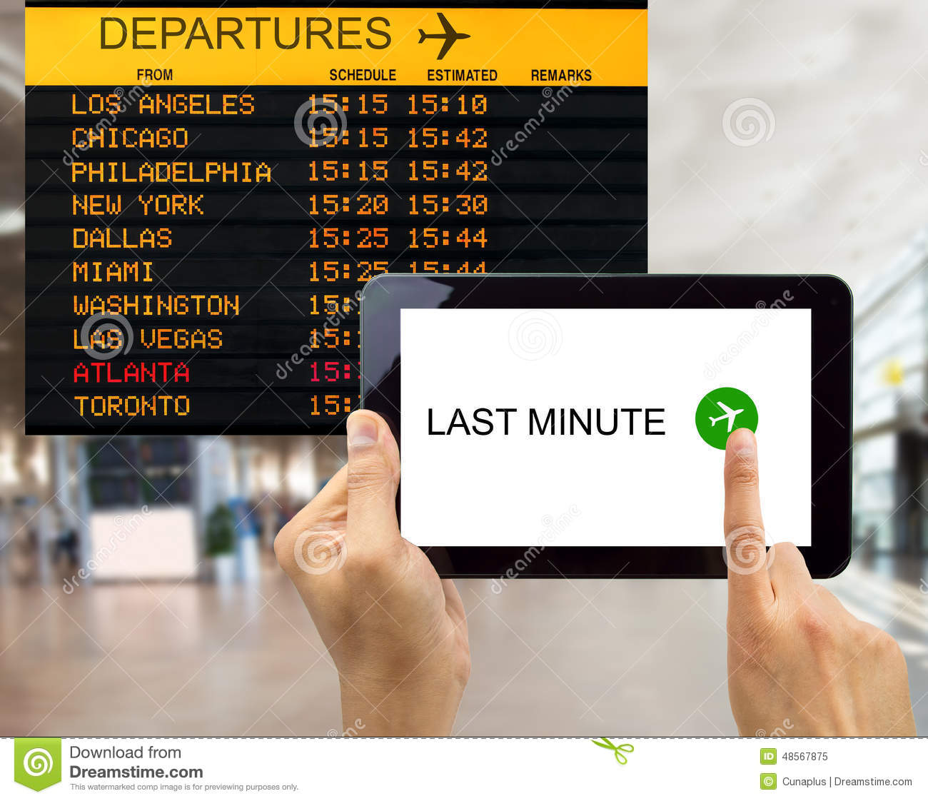 Search For Last Minute Deals In Usa Airport Stock Image