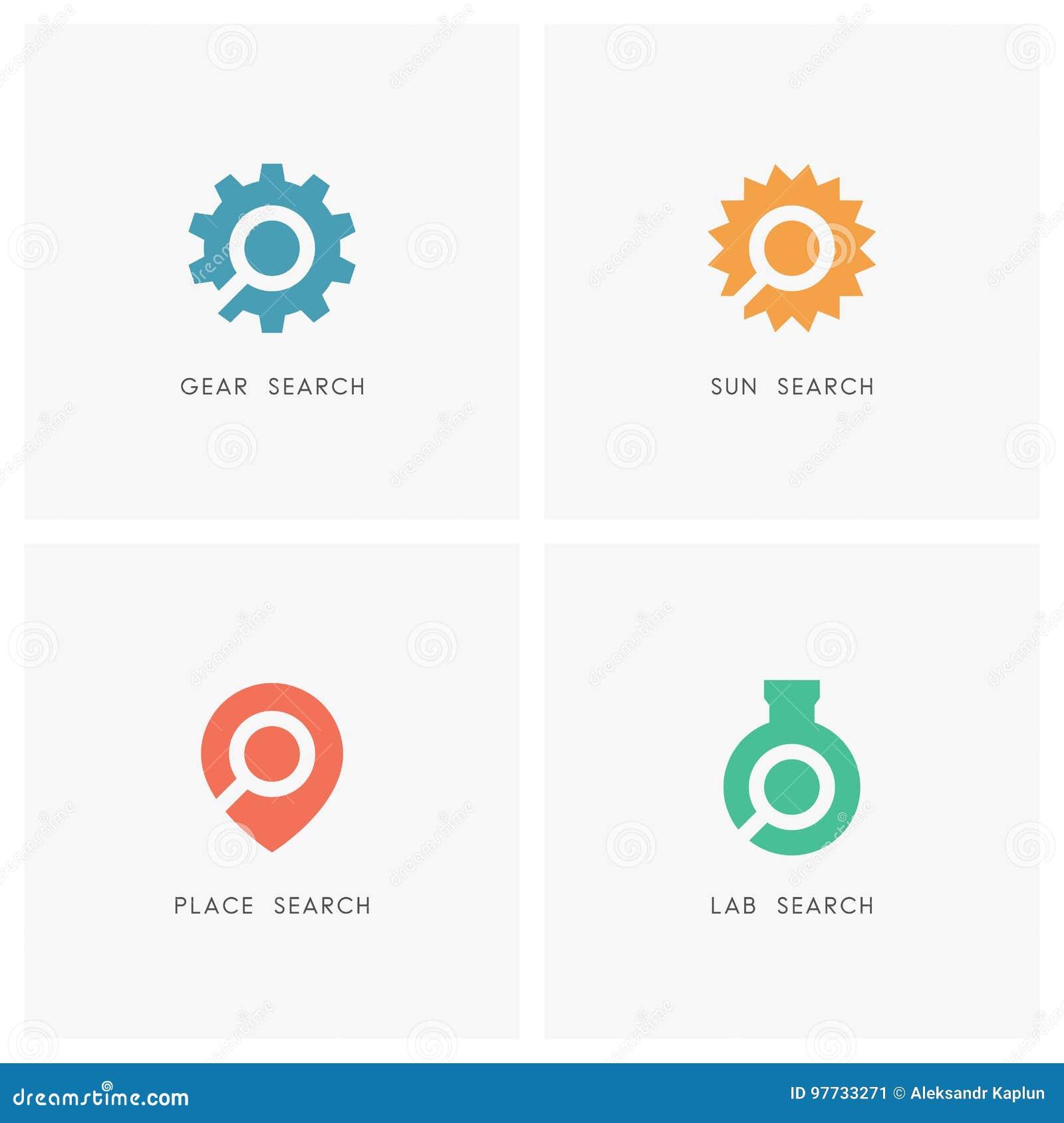 Search logo set stock vector  Illustration of equipment - 97733271