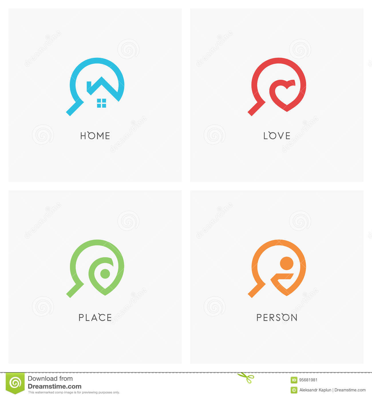 Search logo set stock vector  Illustration of icon, loupe