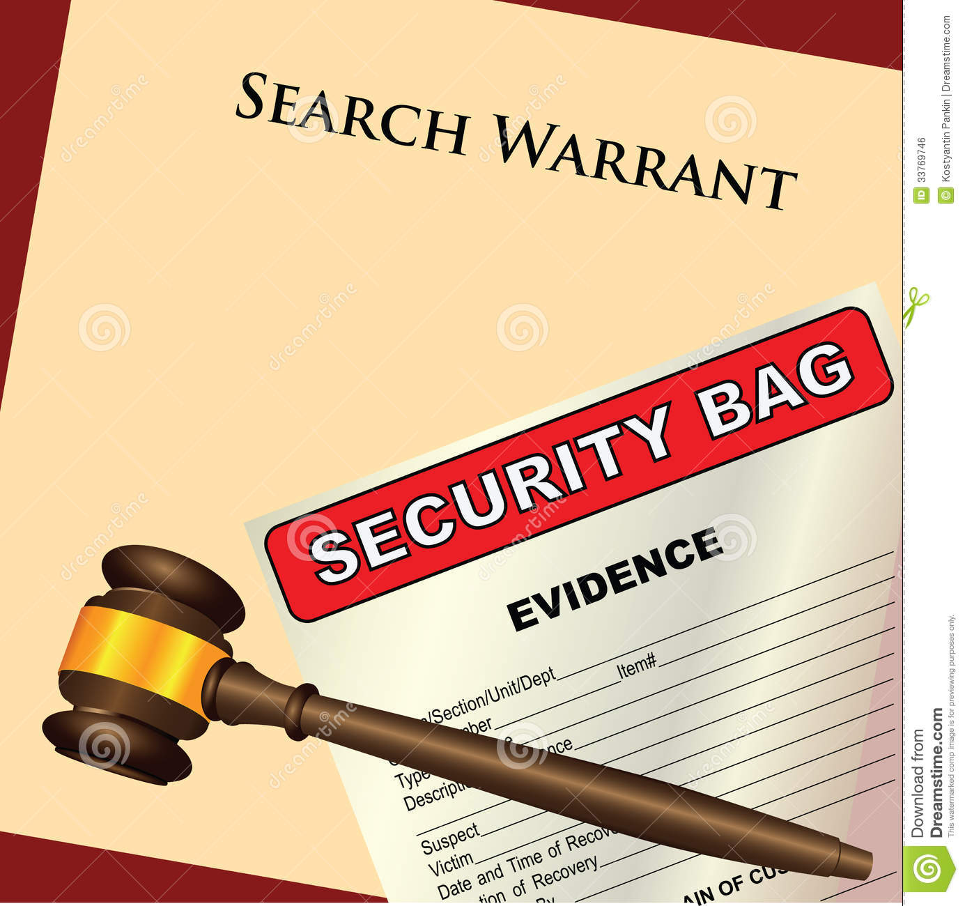 Search Warrant And Evidence Royalty Free Stock Image ...