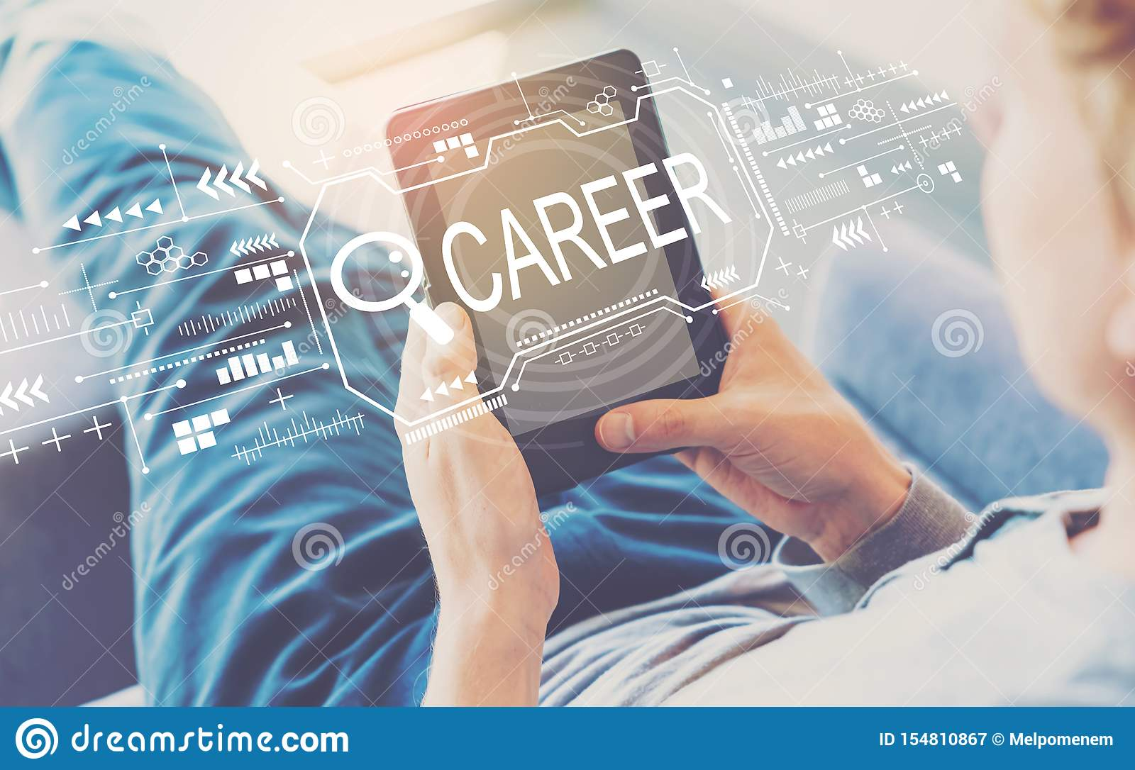 Searching career theme with man using a tablet
