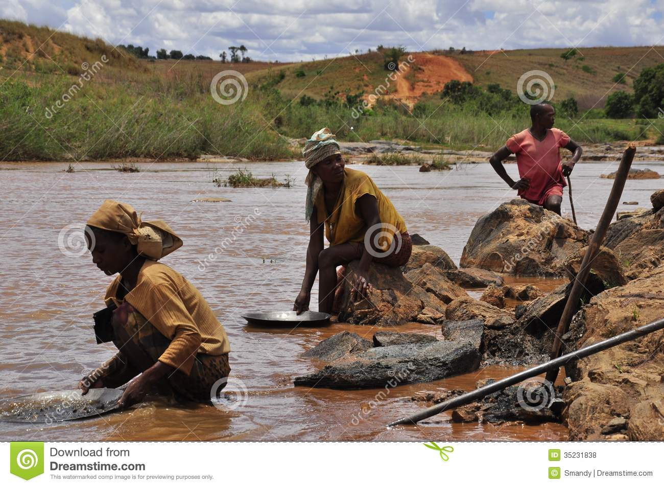 Searching for gold in the river