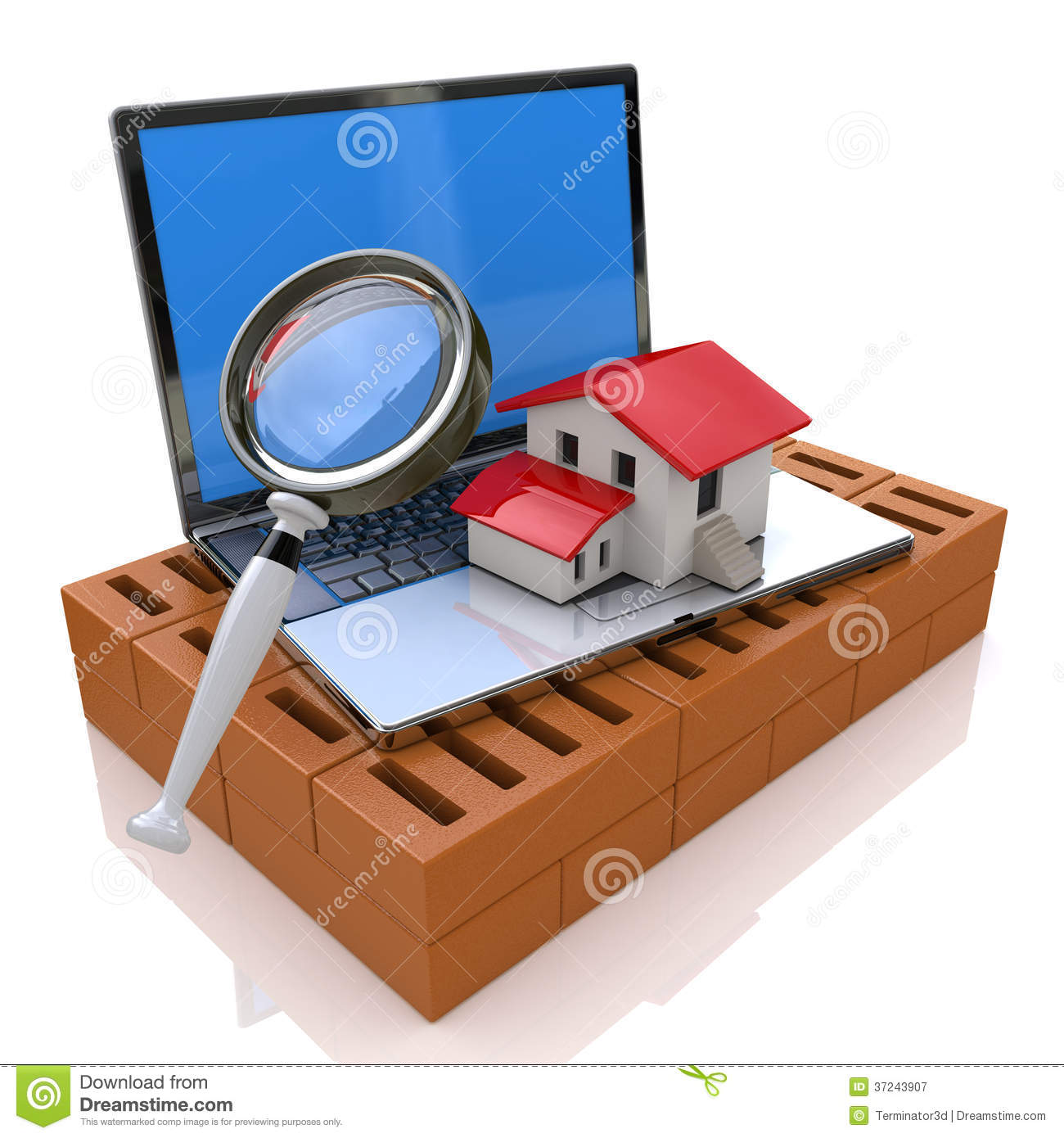 Searching for real estate online stock illustration for Free home search