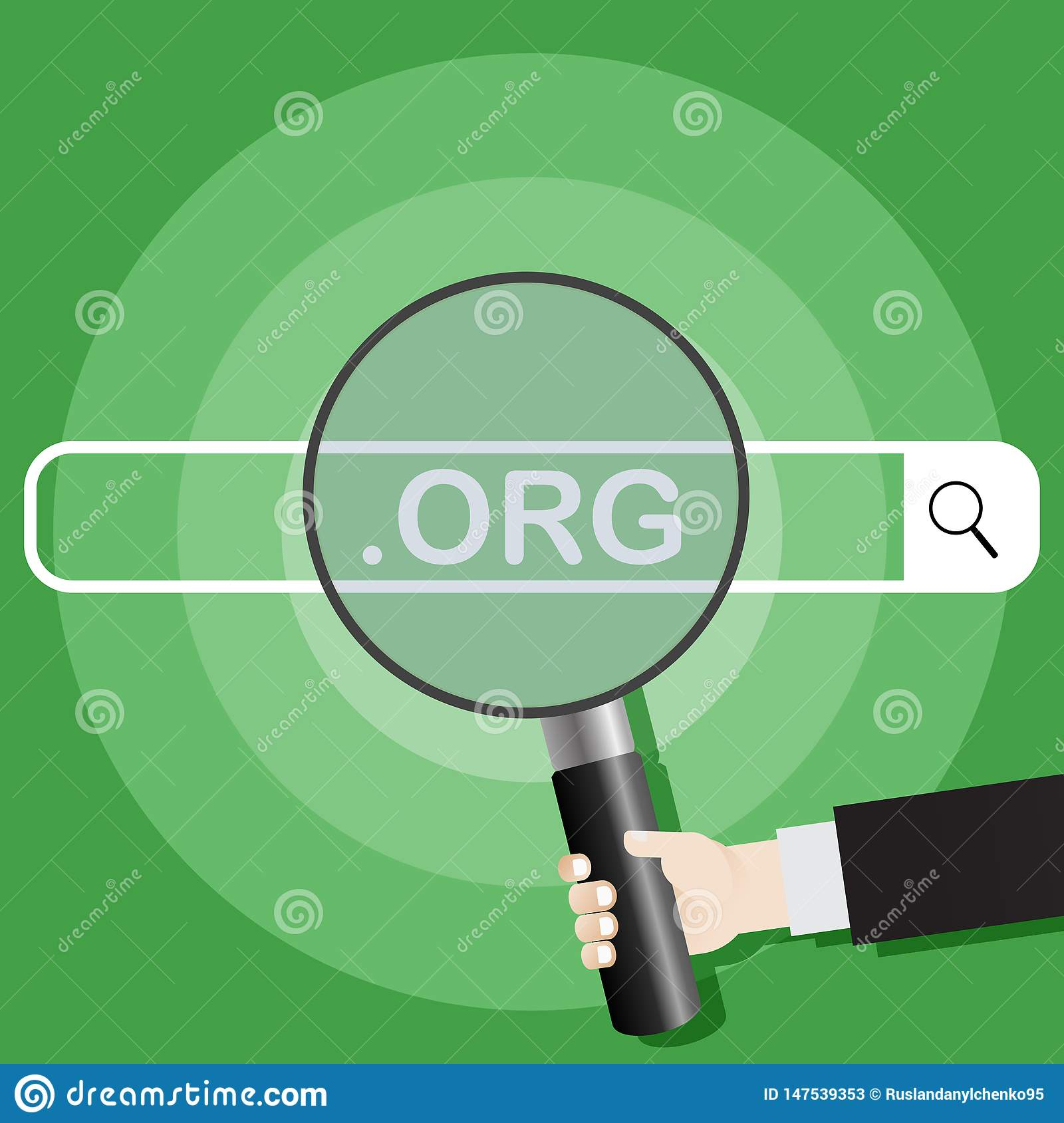 Searching system. Picture of a hand holding a magnifying glass on the search engine org. Vector illustration