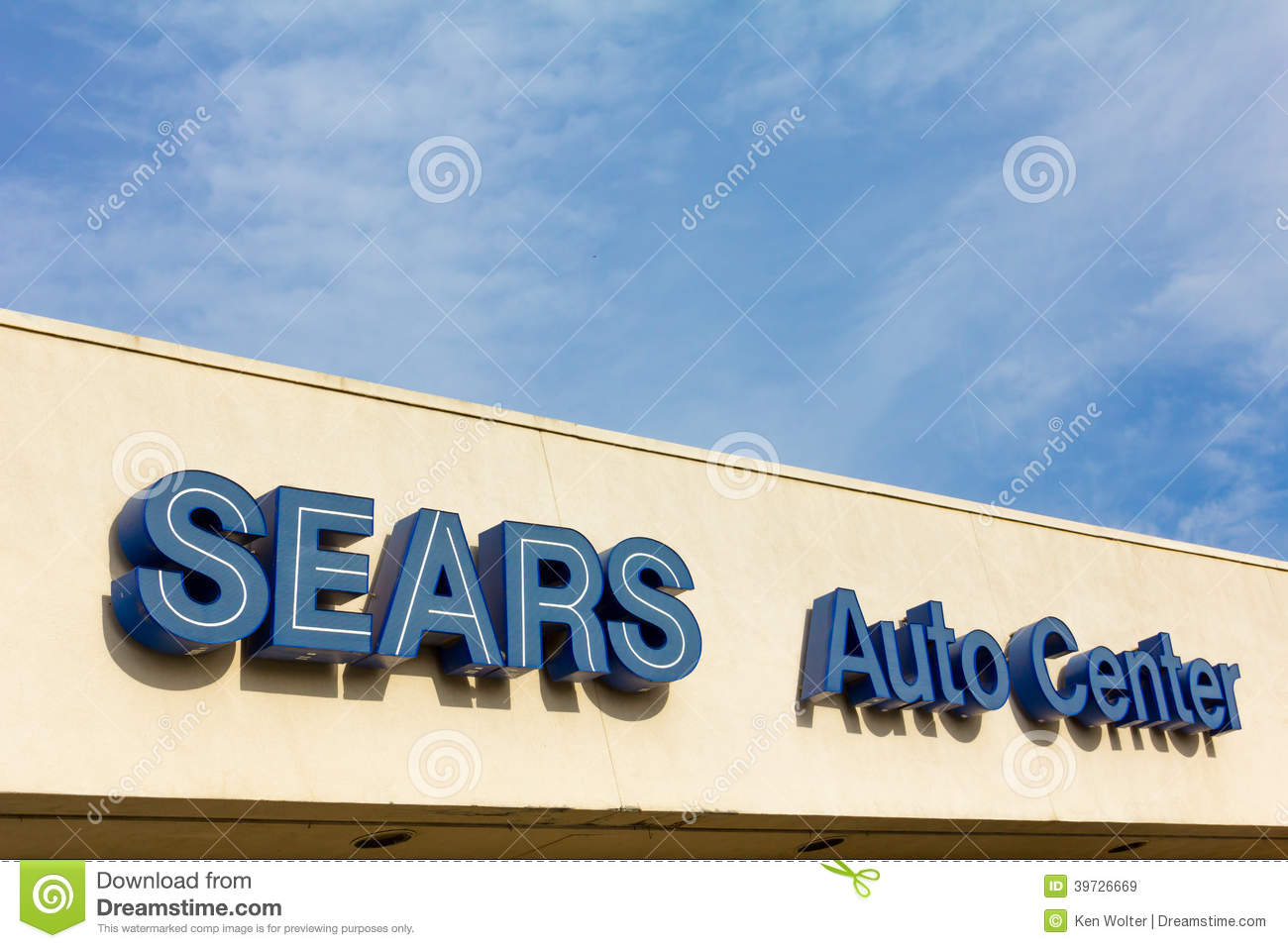 Sears Auto Center sign editorial stock image  Image of kmart