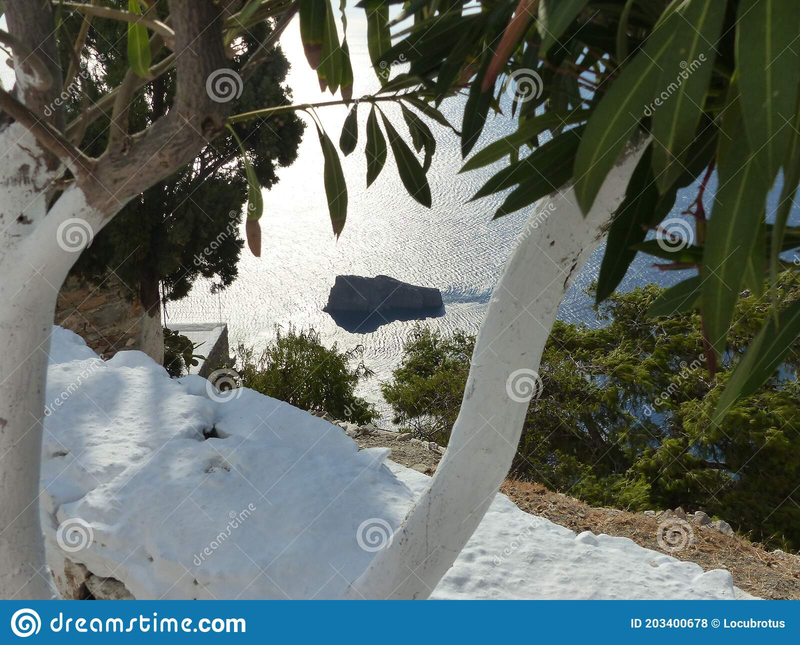 Seascaoe Seen From White Painted Tree Branches To Amorgos In Greece Stock Photo Image Of Peace Wall 203400678