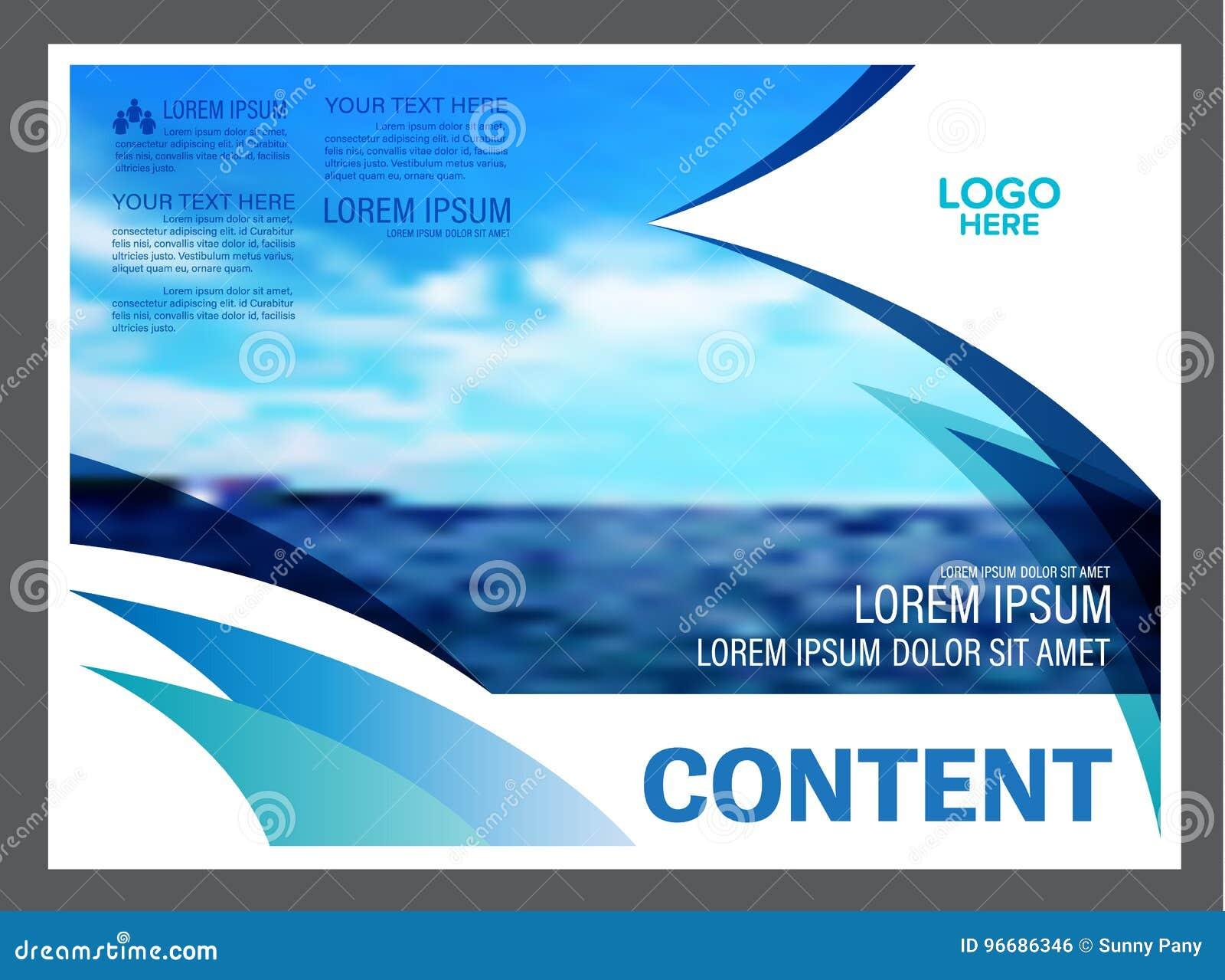 Seascape και υπόβαθρο προτύπων σχεδίου σχεδιαγράμματος παρουσίασης μπλε ουρανού για την επιχείρηση ταξιδιού τουρισμού απεικόνιση