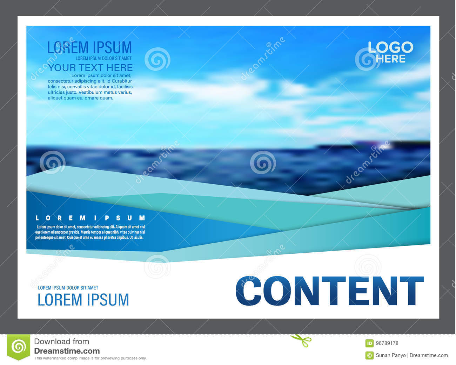 Seascape и предпосылка шаблона дизайна плана представления голубого неба для туризма путешествуют дело иллюстрация