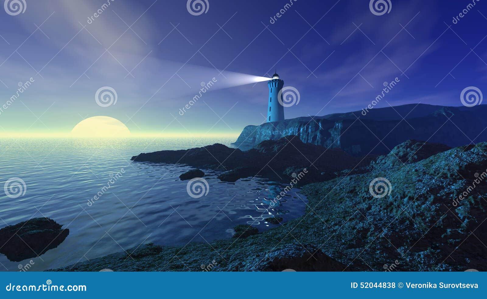 Seascape с маяком