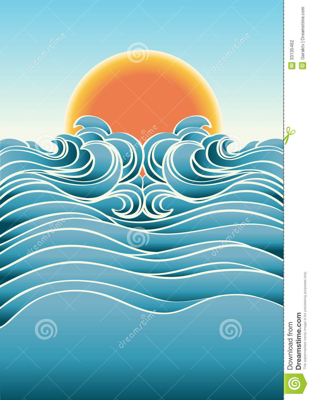 Seascape abstract background with sunlight.Vector