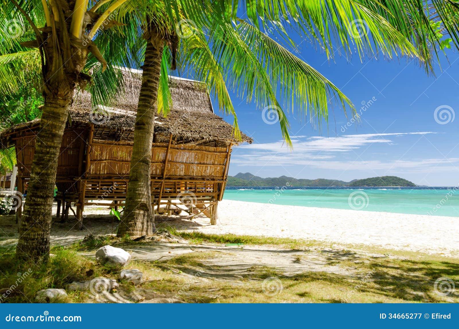 Tropical Beach Huts: Bamboo Hut On Tropical Beach Royalty Free Stock