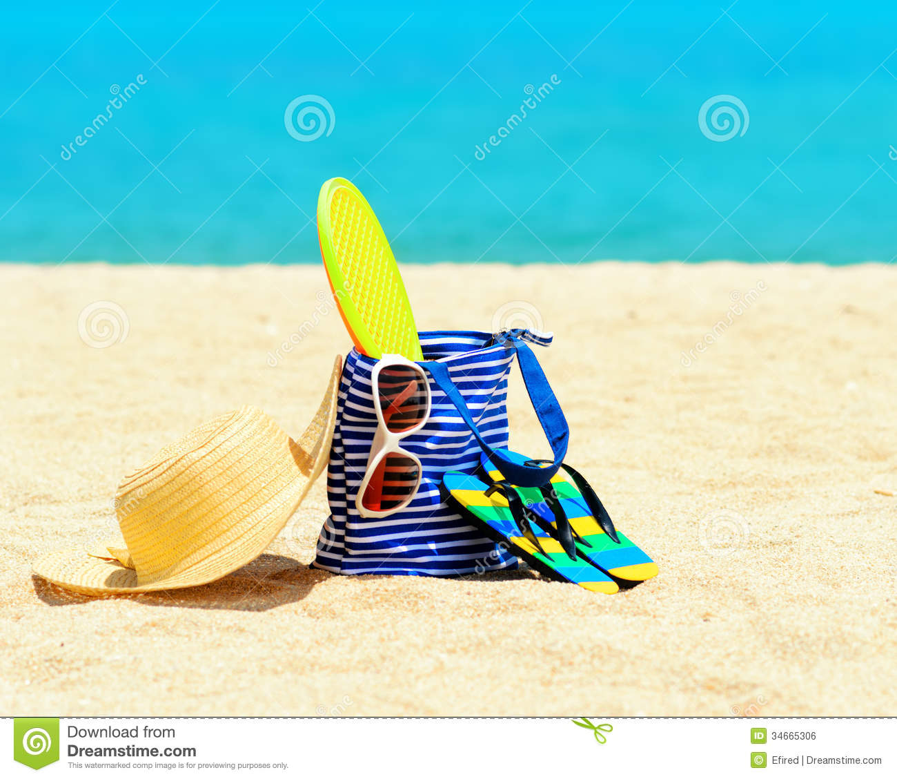 Beach Accessories. Concept Of Summer Vacations Royalty ...