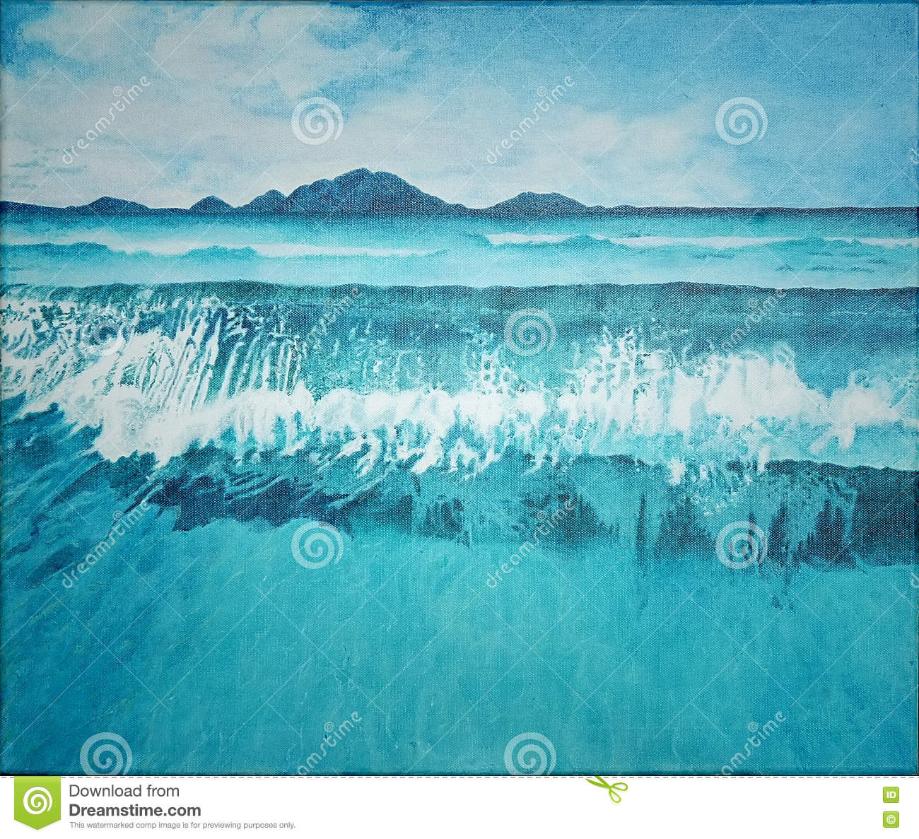 Seascape Blue Ocean And Wave With Mountain Painting ...