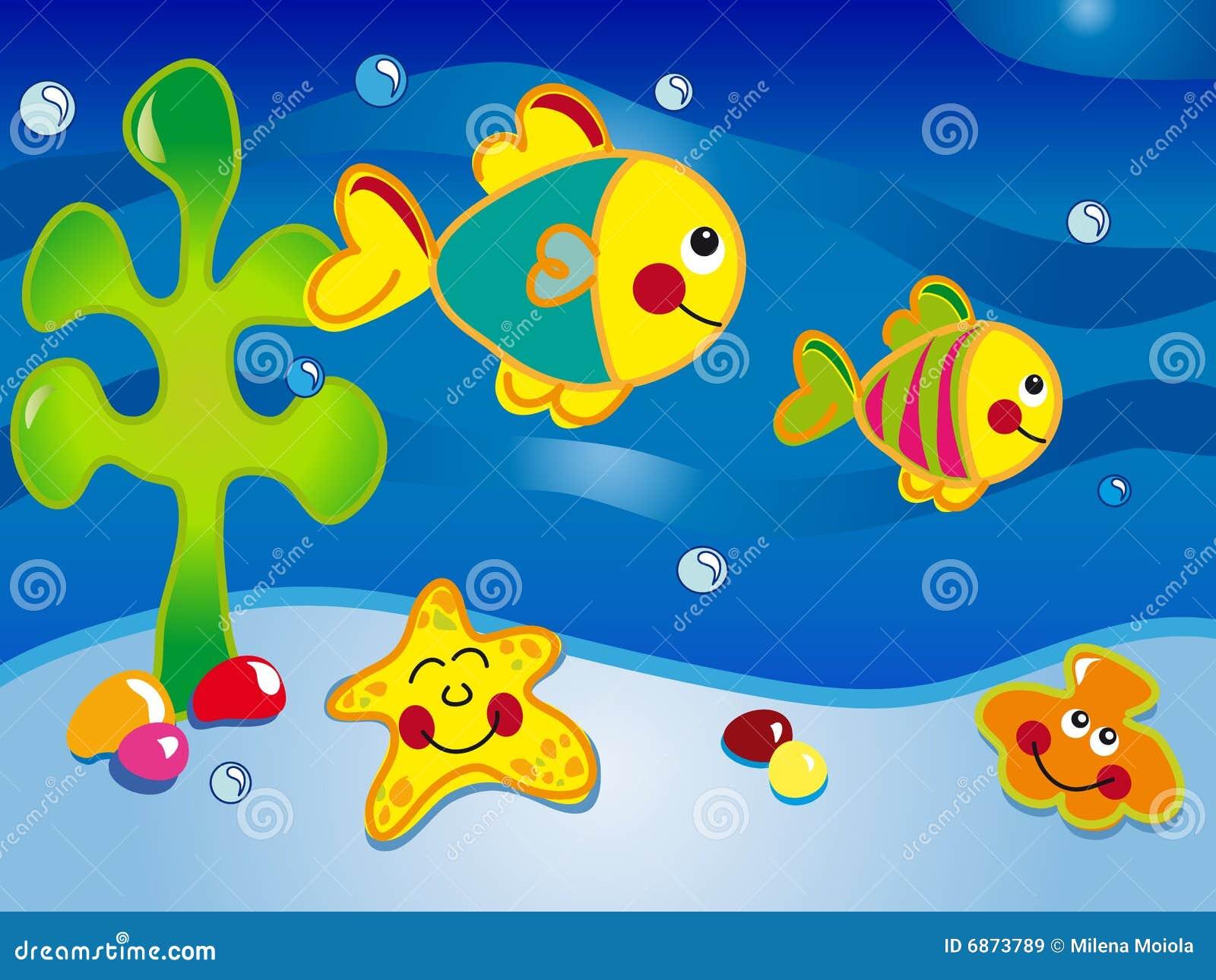 Seascape cartoon stock illustration. Illustration of aquarium - 6873789