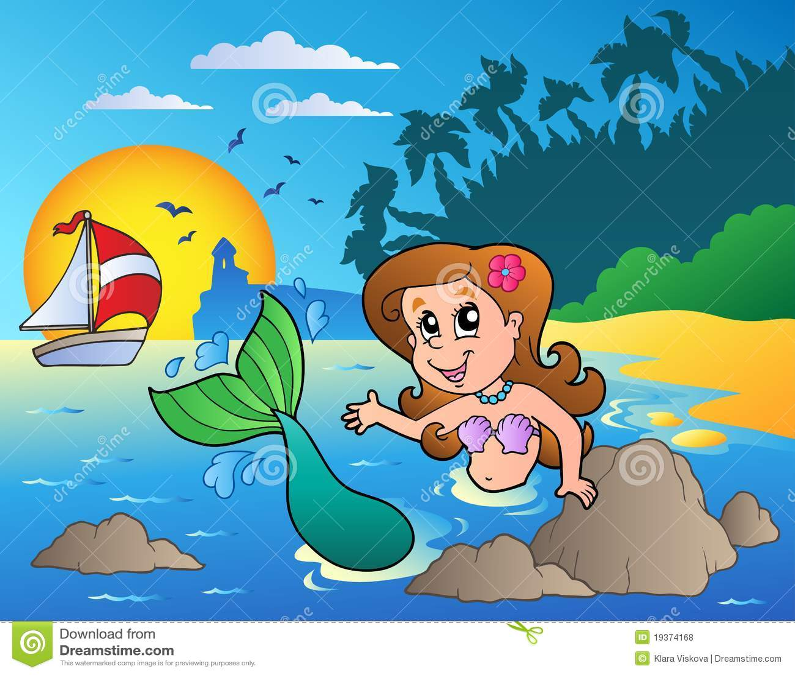 Seascape com sereia da natação
