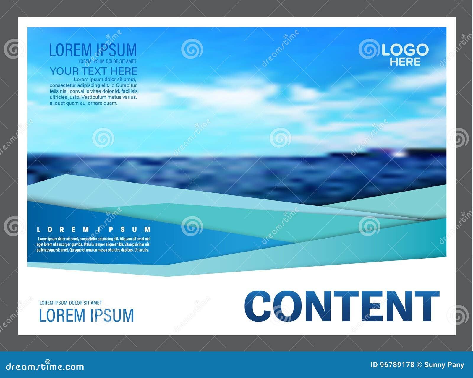 Seascape e fundo do molde do projeto da disposição da apresentação do céu azul para o negócio do curso do turismo Ilustração