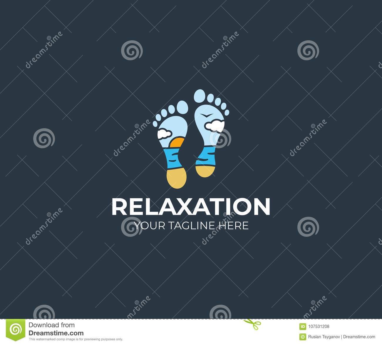 seascape and foot logo template feet and beach vector design stock