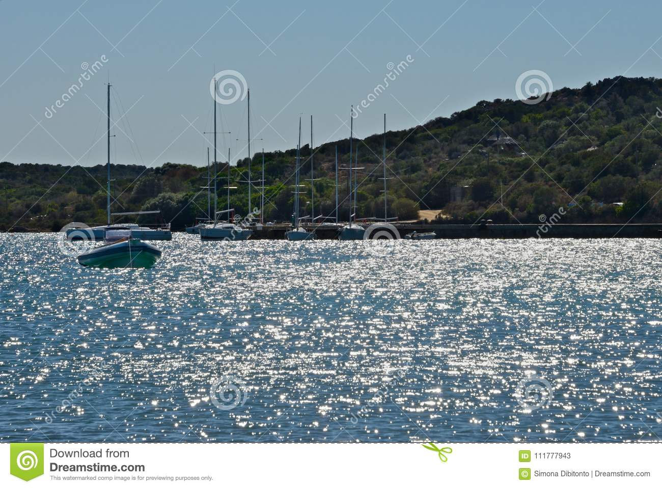 Seascape with glittering sea and and yachts moored surrounded by nature