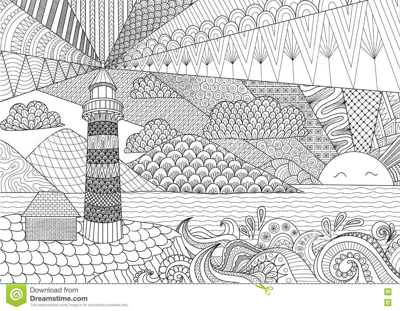 Seascape Line Art Design For Coloring Book For Adult Anti Stress