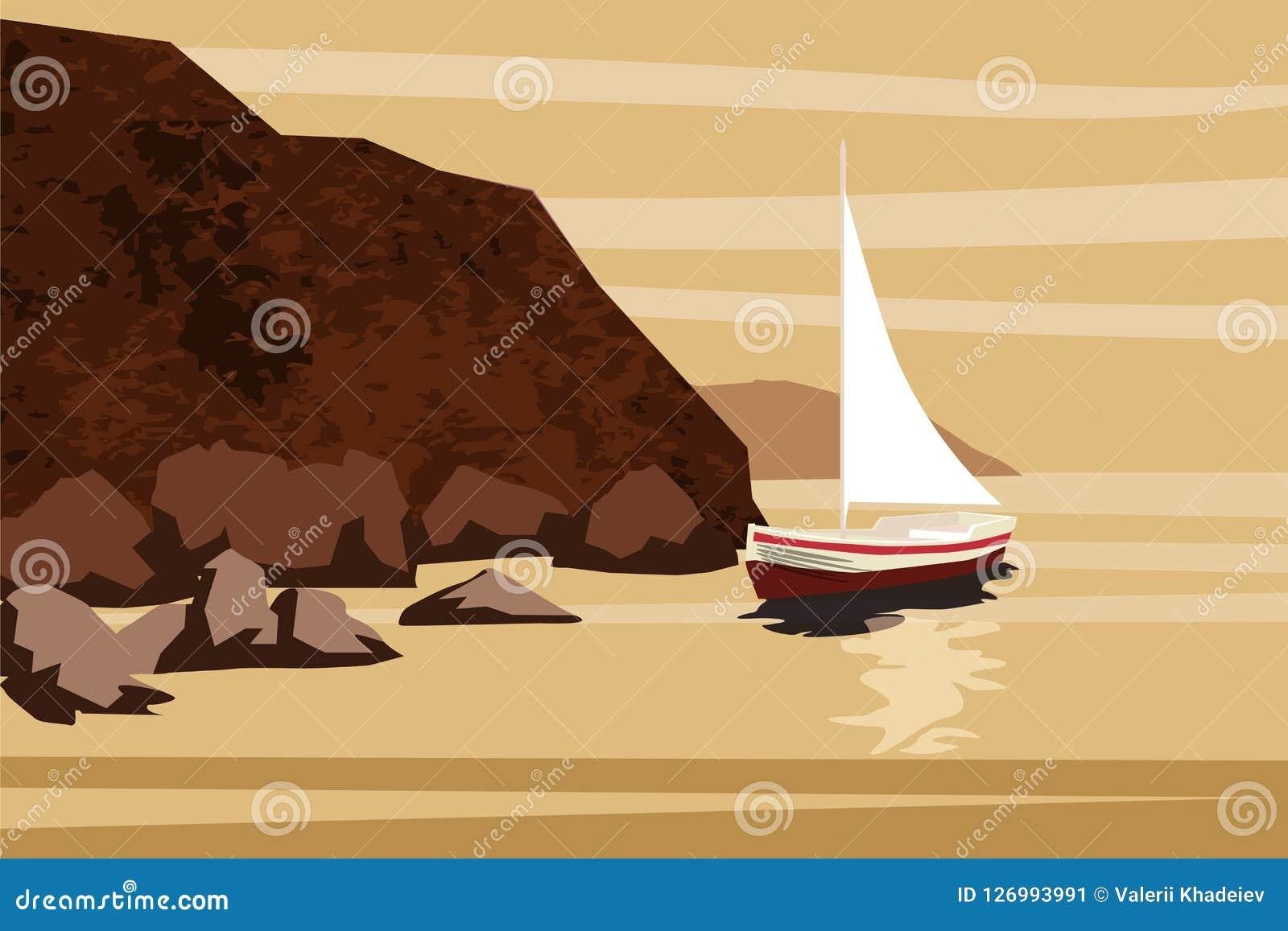 Seascape, morze, ocean, skały, kamienie, sailfish, łódź, wektor, ilustracja, odizolowywająca